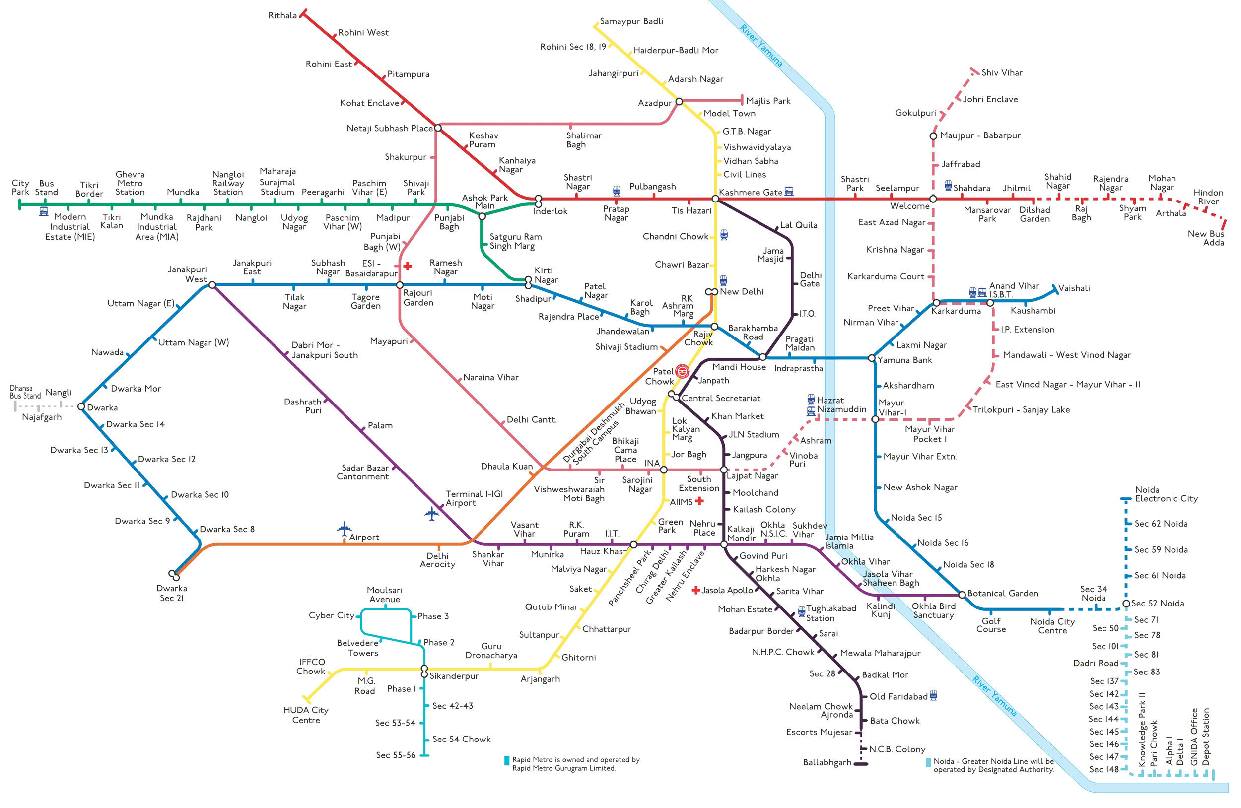 airport express metro route map Delhi Metro Map Noida Metro Route Map Updated Metro Route Map Hd airport express metro route map